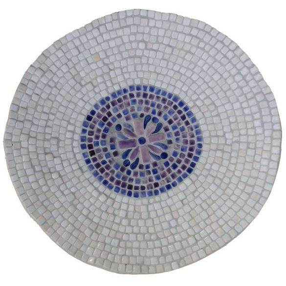 Fehér, lila kerámia tál 33cm átmérő