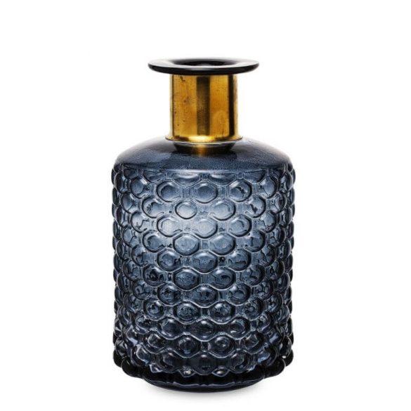 Üveg váza szürke arany 21,5x12cm