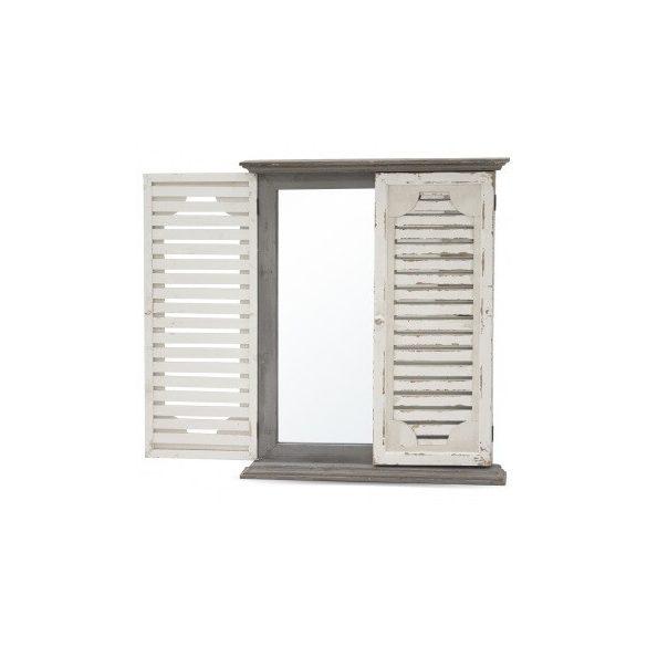 Fali tükör zsalugáteres fehér, barna 58,5x71cm