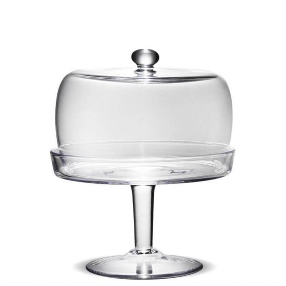 Üveg tároló búrával magas talpon 24,5x20,5cm