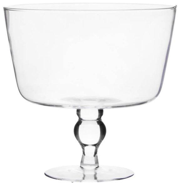 Üveg tál magas taplon 22,5x23cm