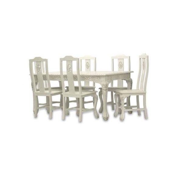 Étkező asztal 6 székkel krémszínű