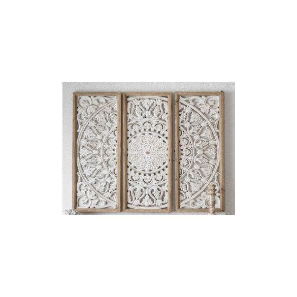 Fali dísz 3 részes faragott fehér natúr keret 90x90cm