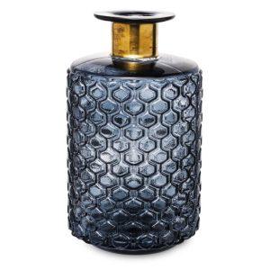 Üveg váza szürke arany 25,5x15cm