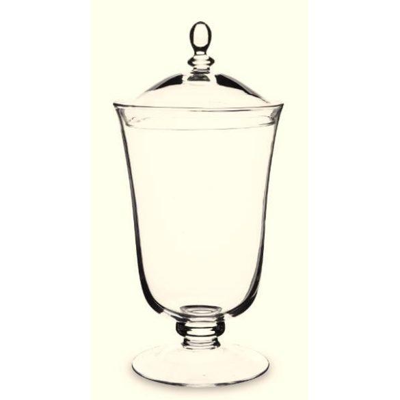 Üveg tároló fedéllel magas talpon 37x18cm