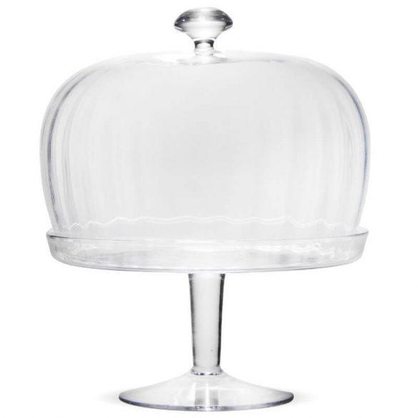 Üveg tál búrával magas taplon 32x25,5cm