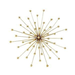 Arany fali dekoráció sugaras gömb 43x43cm