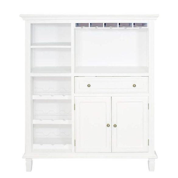 Bortároló szekrény fiókkal, pohártartóval fehér 115x133cm
