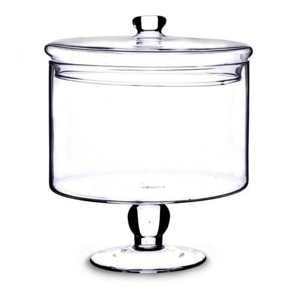 Üveg tároló fedéllel magas talpon 19x16cm