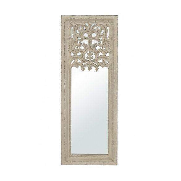 Fali tükör díszes hosszúkás fehér 121,5x42,5cm