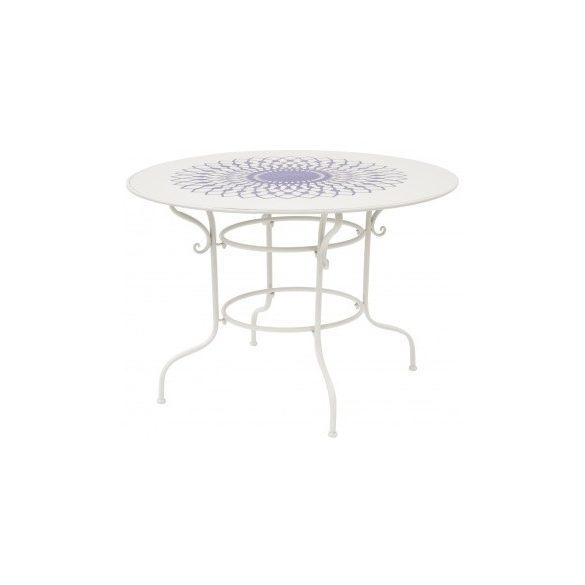 Kerti asztal krém színű kék mintával